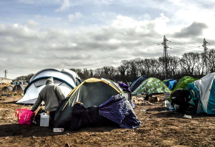 Un campement de migrants à Calais, en février 2019.