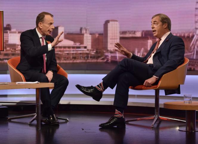 Le chef de file du Brexit Party, Nigel Farage, lors d'une interview accordée à la BBC, le 2 novembre.