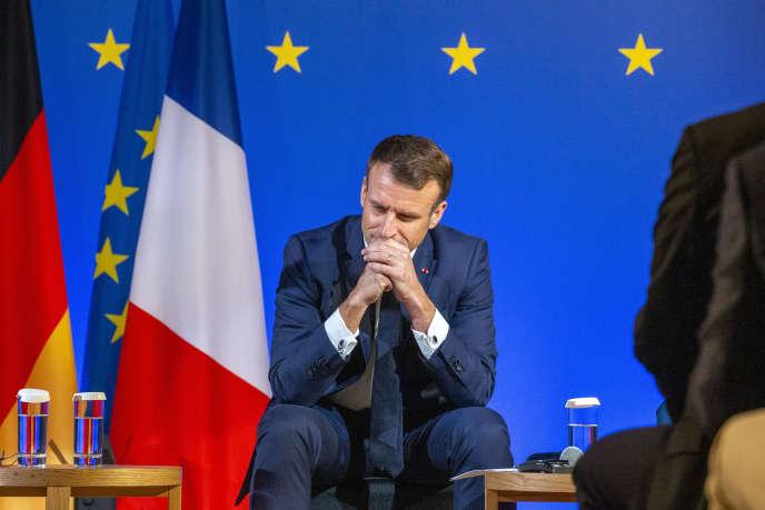 Rencontre entre Emmanuel Macron et les acteurs économiques français et allemands participant à la Foire internationale des importations de Shanghaï (Chine), lundi 4novembre.