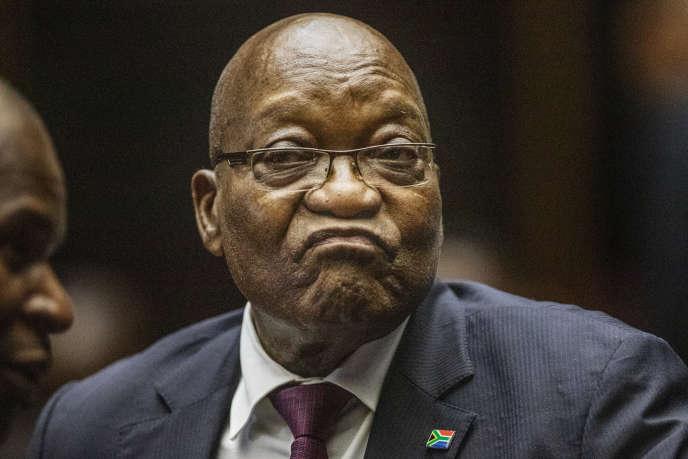 L'ex-président sud-africain Jacob Zuma, le 15 octobre 2019, lors de son procès au tribunal de Pietermaritzburg.