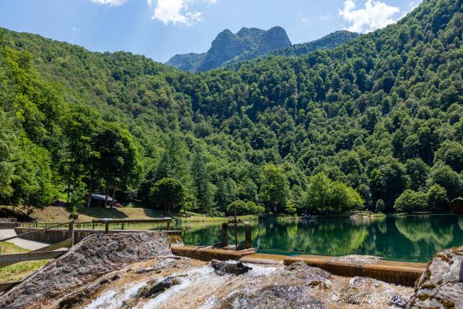 «La forêt couvre 30 % du territoire métropolitain et elle représente un enjeu essentiel outre mer (Amazonie, Île de la Réunion, Antilles…)».Lac de Bethmale, Ariège, Occitanie, France