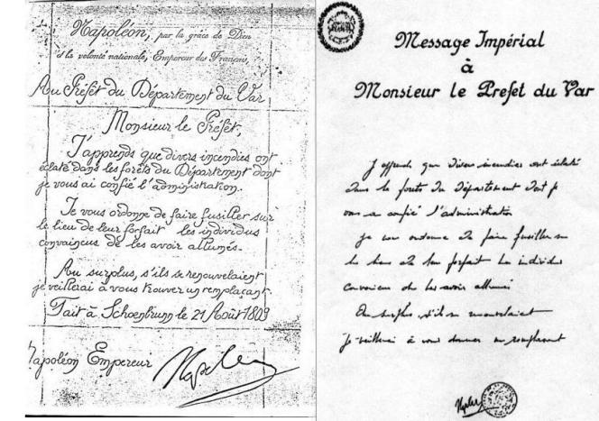 Les deux versions du document présenté comme émanant de Napoléon sont fausses.