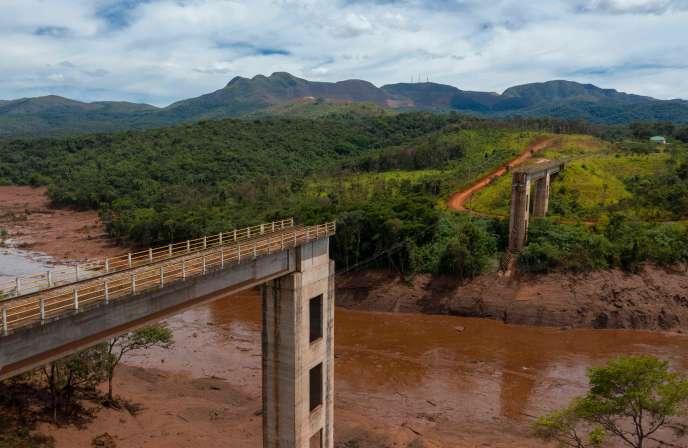 Une vue après la rupture du barrage de Brumadinho, au Brésil.