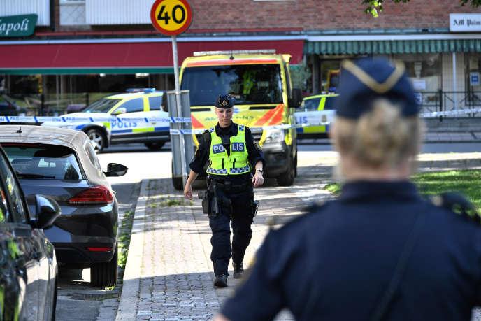 Après la fusillade àRibersaborg, quartier de Malmö, le 26 août.