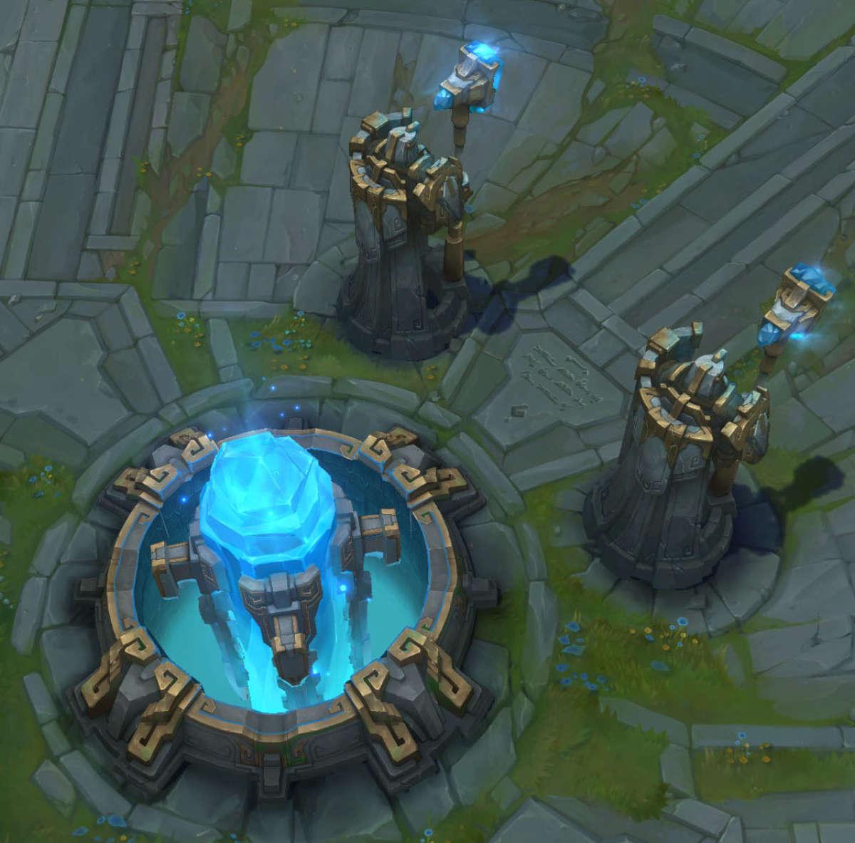 Le but: détruire le Nexus de l'équipe adverse (ici, l'équipe bleue).