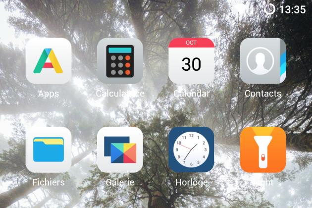 Exemple des applications sur l'écran d'accueil d'un smartphone tournant sous «/e/».