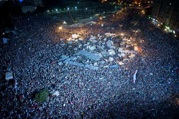Manifestation place Tahrir, auCaire, enjuillet2013.
