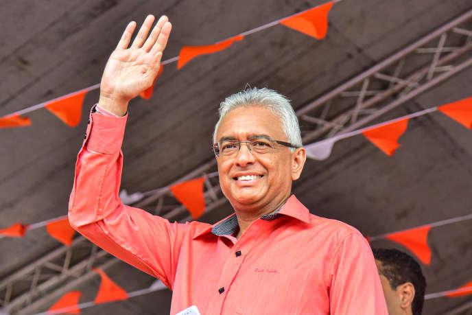 Le premier ministre mauricien, Pravind Jugnauth, en campagne à Vacoas, le 3 novembre 2019.