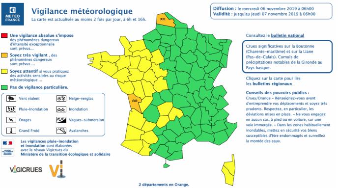 Carte de vigilance de Météo France le 6 novembre 2019 à 6 heures.
