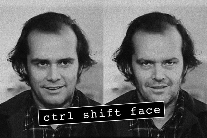 Ctrl Shift Face a notamment remplacé JackNicholson dans«Shining» par Jim Carrey.