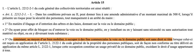 Extrait du projet de loi «engagement et proximité», dans sa version votée par le Sénat le 22octobre2019.