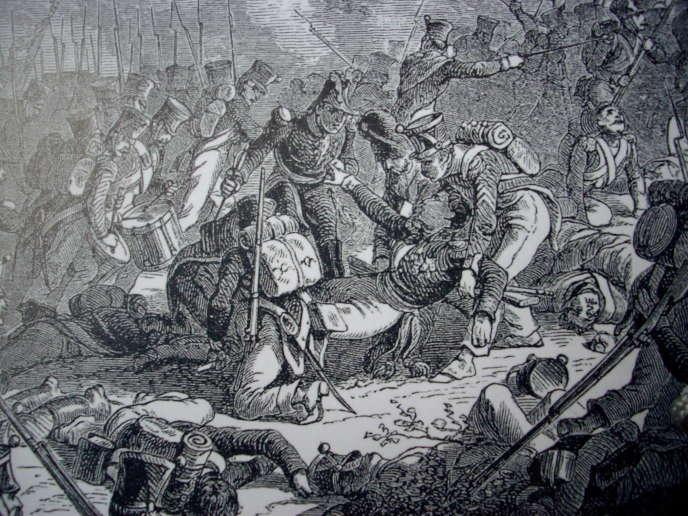 Blessure mortelle du général Gudin à la bataille de Valoutina Gora, par Henri Félix Emmanuel Philippoteaux.