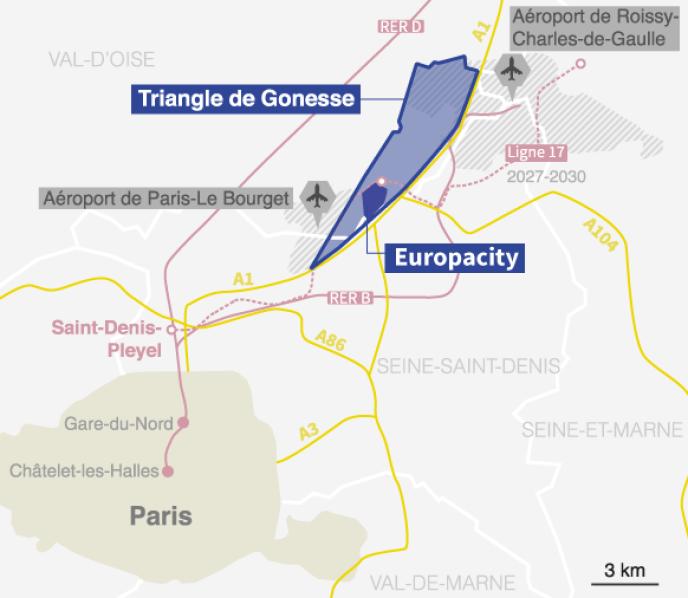 Le site d'EuropaCity était envisagé dans le« triangle de Gonesse», au nord de Paris.