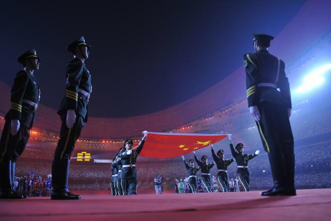 Lors de la cérémonie d'ouverture des Jeux olympiques de Pékin, le 8 août 2008.