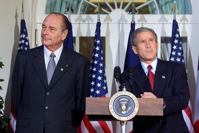 Jacques Chirac et George W. Bush, à Washington, en novembre 2001.
