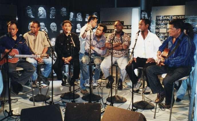 Une séance d'enregistrement du groupe Mahaleo sur la chaîne France 2, en août 2015.