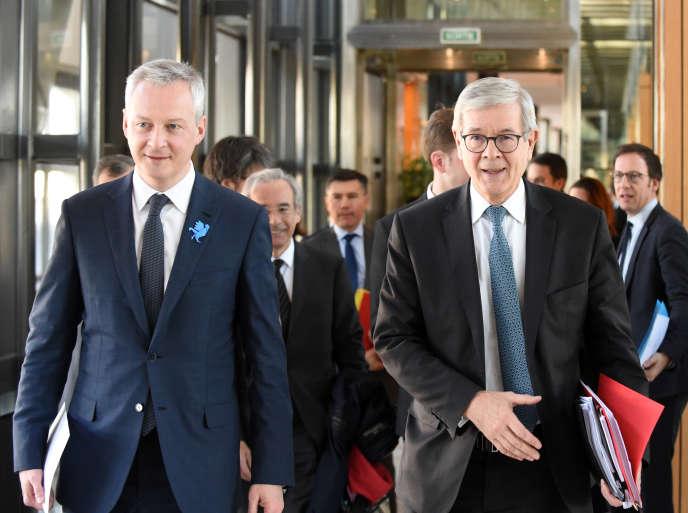 Le ministre de l'économie, Bruno Le Maire (à gauche), et le président de France Industrie, Philippe Varin, à Bercy, en février 2018.