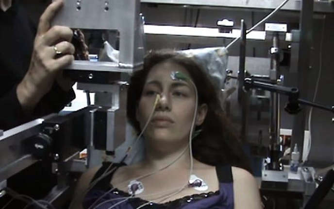 A subject undergoing an electro-olfactogram test in the laboratory of Professor Noam Sobel of the Weizmann Institute of Science in Rehovot.