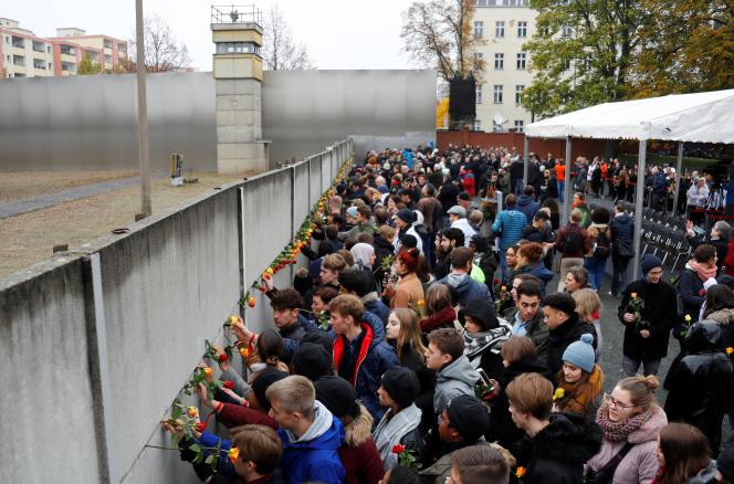 Lors d'une cérémonie marquant le 30e anniversaire de la chute du mur de Berlin, le 9 novembre 2019.