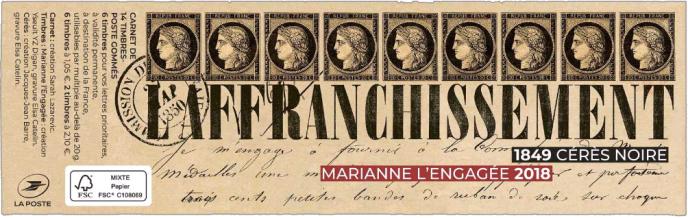 Couverture du carnet de timbres composé,« Marianne»/« Cérès», en vente en avant-première au Salon philatélique d'automne.