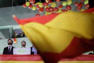 Le leader de Vox, Santiago Abascal (deuixème en partant de gauche), après les élections du 10 novembre, à Madrid.
