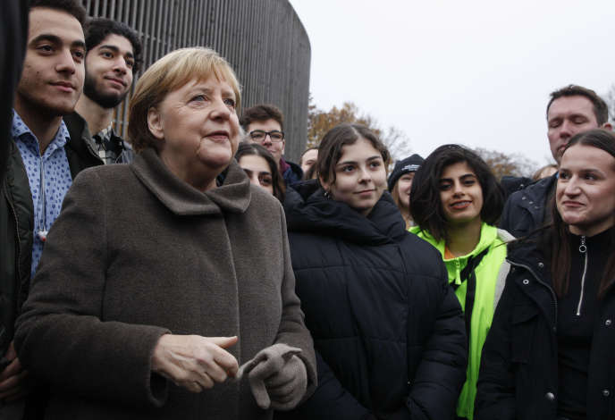 La chancelière Angela Merkel lors d'une cérémonie pour le 30e anniversaire de la chute du Mur, à Berlin, le 9 novembre.