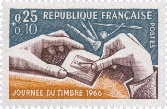 Et où le bât blesse aussi, c'est la « baisse de la valeur de revente », le « trop de timbres », la « pratique de plus en plus chère », la « diminution des émissions en taille-douce »… (Illustration: timbre de Pierre Béquet paru en 1966).