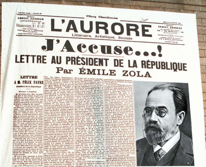 Une du journal « L'Aurore» du 13 janvier 1898, dans lequel Emile Zola a publié sa vibrante défense du capitaine Alfred Dreyfus
