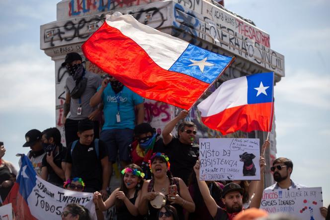 Manifestation contre le gouvernement de Sebastian Piñera, le 11 novembre 2019 à Santiago (Chili).
