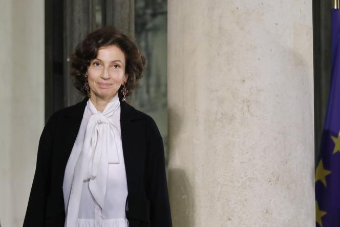 La directrice générale de l'Unesco, Audrey Azoulay, le 11 novembre à l'Elysée.
