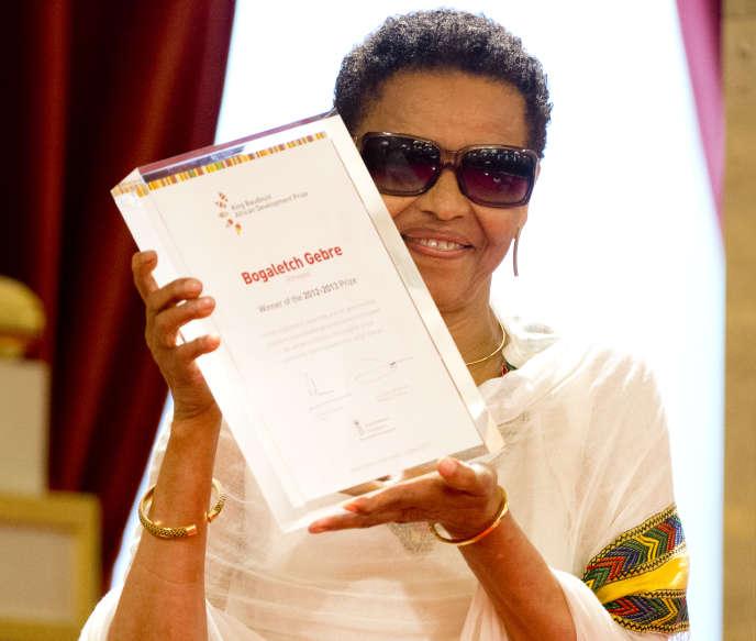 L'Ethiopienne Bogaletch Gebre, lauréate du prix 2012-2013 de la Fondation du roi Baudouin pour le développement en Afrique, à Bruxelles, le 22 mai 2013.
