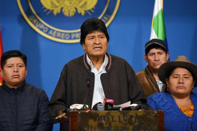 L'ancien président bolivien Evo Morales le 10 novembre 2019 à El Alto (photo transmise par la présidence bolivienne).