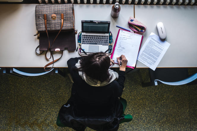 Léonie Perrin, étudiante en licence de psychologie, révise ses cours dans la bibliothèque de l'université de Strasbourg, le 5 novembre 2019.