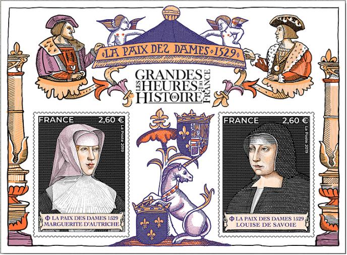 Bloc-feuillet dessiné et gravé par Louis Boursier, sur les« grandes heures de l'histoire de France», en vente en avant-première au Salon philatélique. Impression en taille-douce. Tirage: 230000 exemplaires.