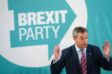 Le leader du Parti du Brexit, Nigel Farage, lors d'un déplacement à Hartlepool, le 11 novembre.