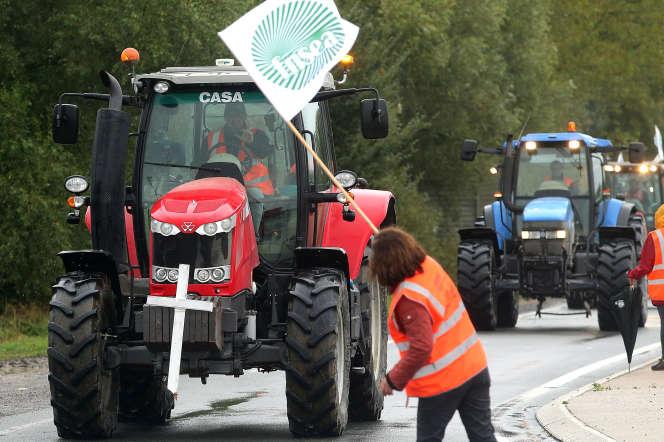 Manifestation de la FNSEA et des Jeunes agriculteurs, à Laon, le 8 octobre.