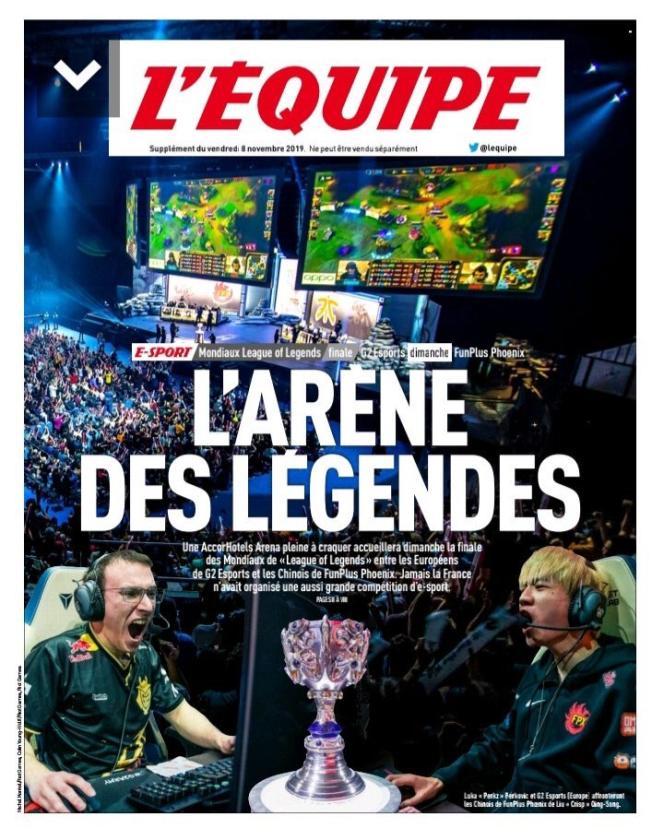 «L'Equipe»a consacré un supplément entier à la finale des Mondiaux de« League of Legends» et au phénomène e-sport.