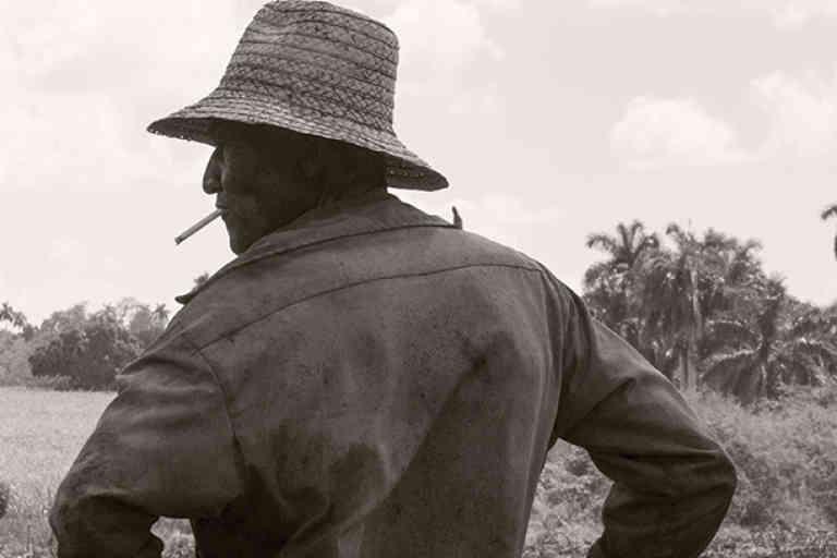Cuba, March 2nd 2017 Machetero smoking a cigarette in a sugar cane field just cut in the Madruga area.  Cuba, 2 mars 2017 Machetero fumant une cigarette dans un champ de canne à sucre tout juste coupé dans la région de Madruga.  Pierre-Elie de Pibrac / Agence VU