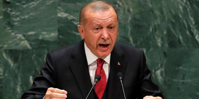 Le président de la Turquie, Recep Tayyip Erdogan lors de la 74e session de l'assemblée générale des Nations Unies, à New York, le 24 septembre.