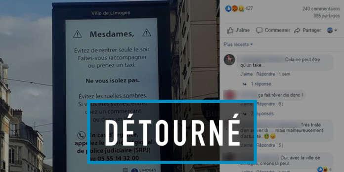 « Mesdames, évitez de rentrer seule le soir… » : le message factice de la ville de Limoges