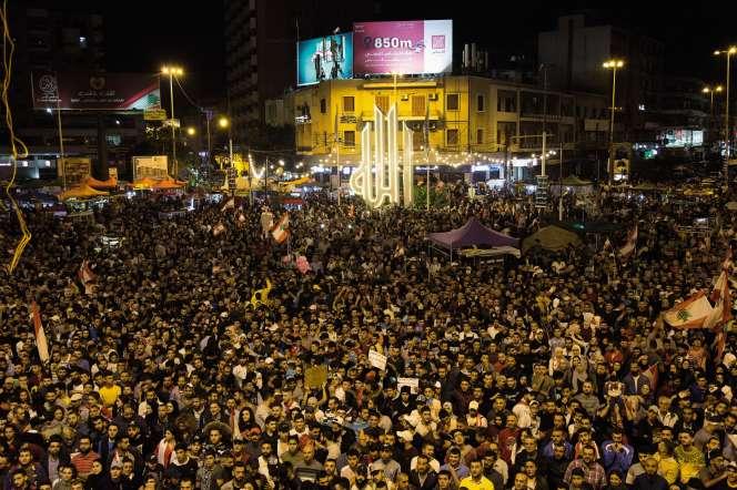 place Al-Nour, épicentre de la contestation, à Tripoli, la ville la plus pauvre du pays, le 2 novembre.