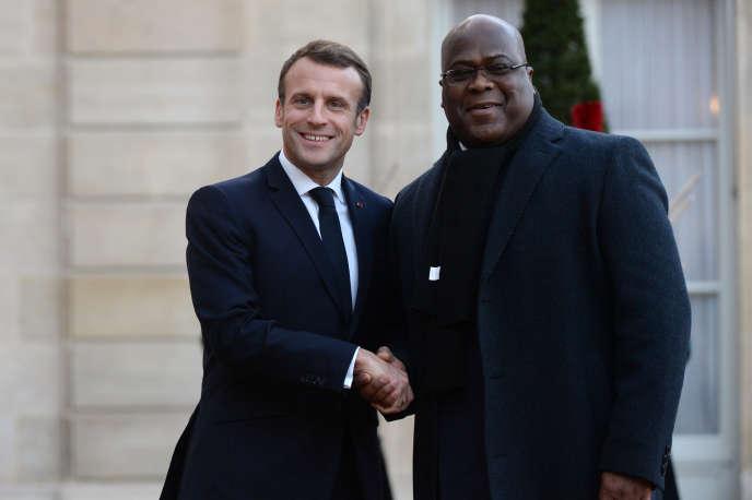 Le président français Emmanuel Macron (à gauche) avec son homologue congolais Félix Tshisekedi au palais de l'Elysée, à Paris, le 12 novembre 2019.
