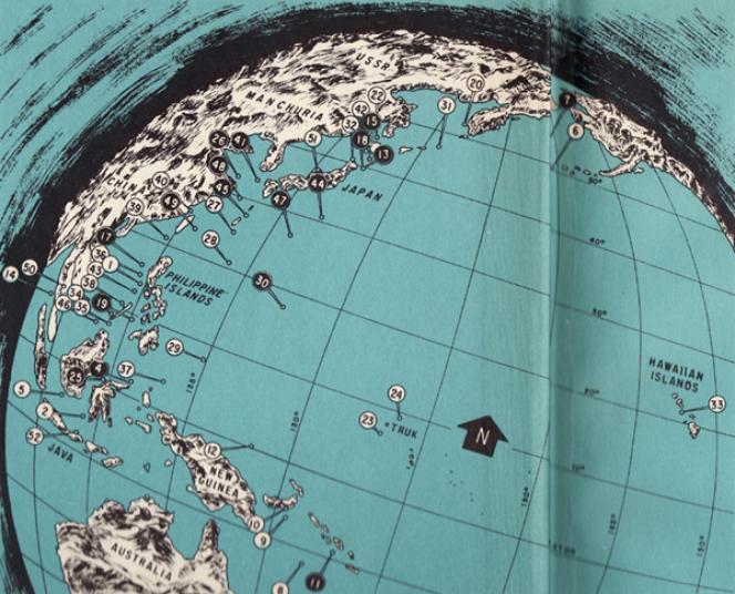 Carte montrant la localisation approximative des sous-marins américains coulés dans l'océan Pacifique.