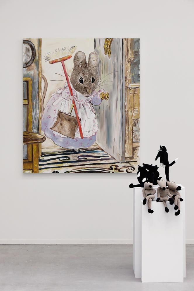 « Petits Loups» (2019), de Fabienne Audéoud.D'après «The Tale of Two Bad Mice»(Deux vilaines souris)deBeatrix Potter,1908,(Hunca Munca et la balayette) (2019).