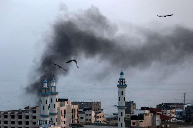 La ville deGaza au matin du 13novembre, après des tirs israéliens.
