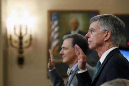 William Taylor, le plus haut diplomate de l'ambassade des Etats-Unis à Kiev, lors de son audition au Congrès mercredi 13 novembre.
