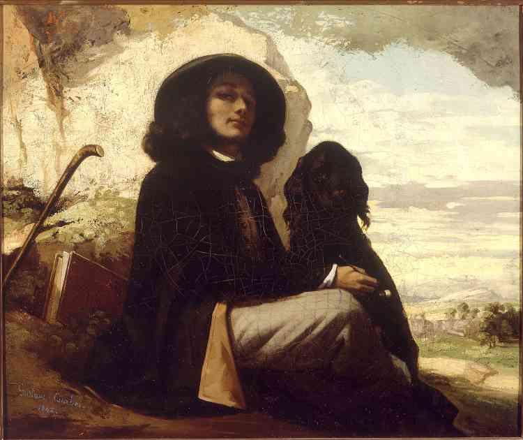 """« Gustave Courbet a peint, tout au long de sa vie, des autoportraits, dont celui-ci, qui constitue une des rares œuvres de jeunesse conservées. Bien qu'étudiant à Paris, il a choisi de se représenter dans sa Franche-Comté natale, tel un nouveau Rastignac prêt à conquérir la capitale. Le jeune peintre est fier de ce tableau accepté au Salon en 1844 et dont """"chacun me fait compliment"""", comme il l'écrit à ses parents. »"""