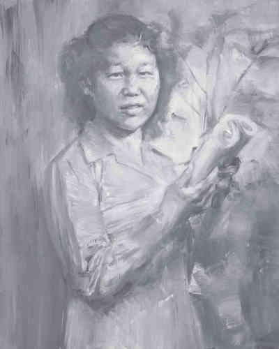 «Ce portrait très sensible de la mère de Yan Pei-Ming récemment disparue a été réalisé d'après une photographie datant de la fin des années 1940. Elle y est représentée jeune, juste avant son mariage, sensiblement au même âge qu'avait Juliette Courbet lorsque son frère l'a représentée.»