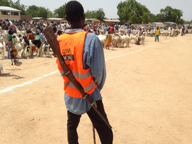 Un homme membre d'un groupe local d'auto défense, dans le village de Mémé, dans l'Etrême-Nord du Cameroun, une région frappée par desattaques régulières du groupe terroriste Boko Haram. Le 13 juin 2018.