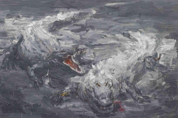 """«Dans cette toile, la vivacité et la nervosité de la touche de Yan Pei-Ming traduisent toute la force de ces deux crocodiles, gueules ouvertes et gourmandes. Accrochées dans l'exposition en regard du """"Sommeil"""" de Courbet, les deux œuvres dialoguent et soulignent ainsi deux formes différentes d'animalité.»"""